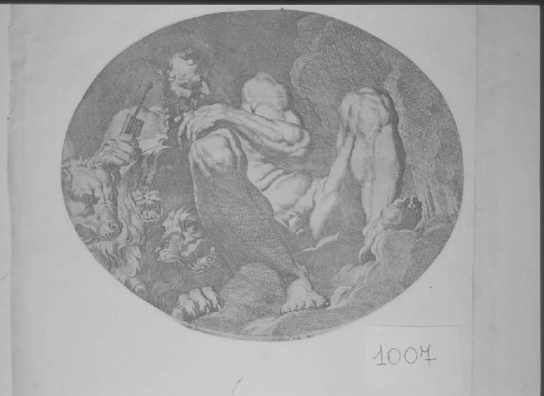 Plutone, Plutone (stampa smarginata, elemento d'insieme) di Dauphin Olivier, Carracci Agostino (sec. XVII)