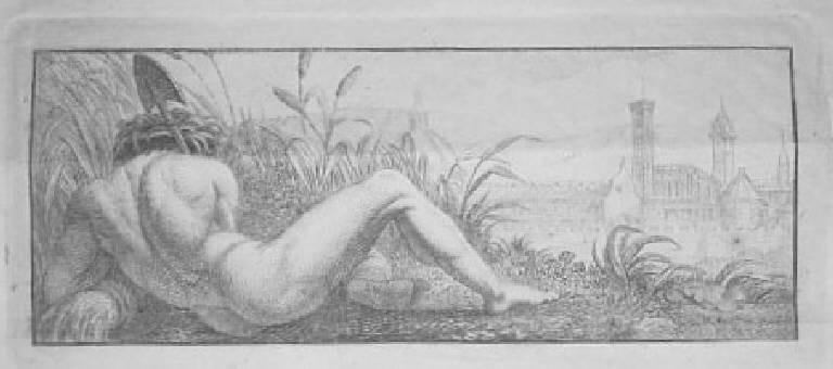 Allegoria del fiume Arno (stampa) - scuola italiana (sec. XVII)
