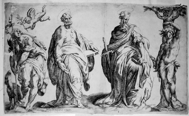 I santi Rocco, Pietro, Paolo, Sebastiano, San Rocco, san Pietro, san Polo, san Sebastiano (stampa) di De Santis Orazio detto Aquilano, Cesura Pompeo (sec. XVI)