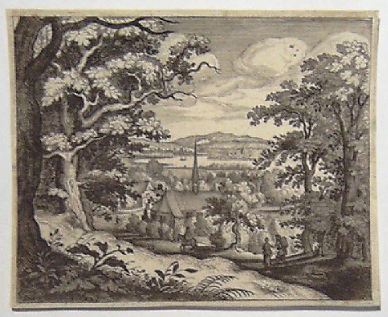Paesaggio con una chiesa e viandanti (stampa) - scuola fiamminga (secc. XVI/ XVII)