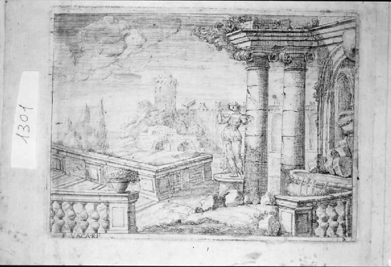 Paesaggio con rovine (stampa, elemento d'insieme) di Vaccaro Francesco (sec. XVII)