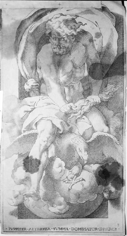 Giove, Giove (stampa, elemento d'insieme) di Caraglio Giacomo, Rosso Fiorentino (sec. XVI)