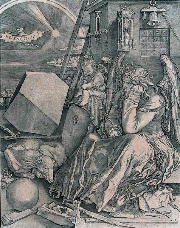 Allegoria della Melancolia (stampa smarginata) di Dürer Albrecht, Wierix Anton (secc. XVI/ XVII)