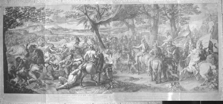 Alessandro Magno accoglie Porro ferito (stampa, elemento d'insieme) di Audran Gérard, Le Brun Charles (sec. XVII)