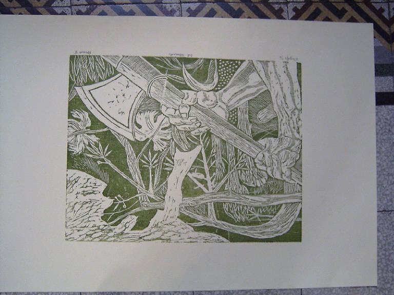 Dal Pollaiuolo, Braccio armato (stampa a colori) di Berardi Angelo, Benci Antonio detto Pollaiolo (sec. XX)