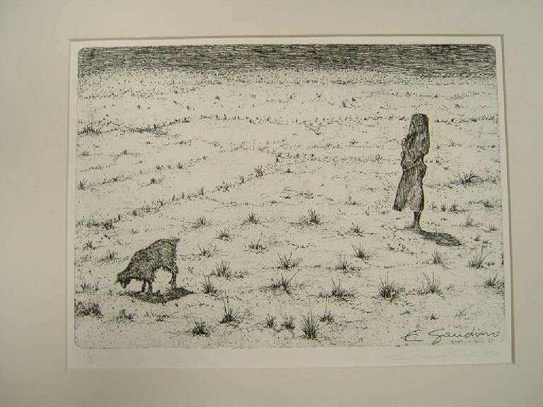 La capraia, Figura femminile con una capra (stampa) di Gaudino Enrico, Gaudino Enrico (sec. XX)