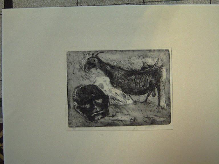 Il contadino e le capre, Testa d'uomo e una capra (stampa) di Repossi Giovanni, Repossi Giovanni (sec. XX)