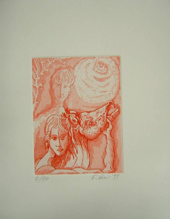 Due figure con cavallo (stampa a colori) di Paci Fulvio, Paci Fulvio (sec. XX)