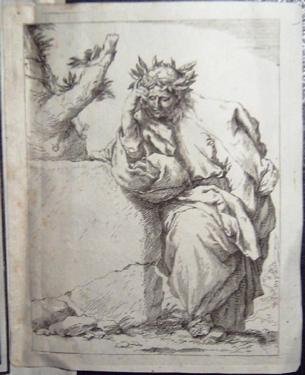 Poeta in meditazione (stampa) di Ribera Jusepe de detto Spagnoletto - scuola italiana (sec. XVII)
