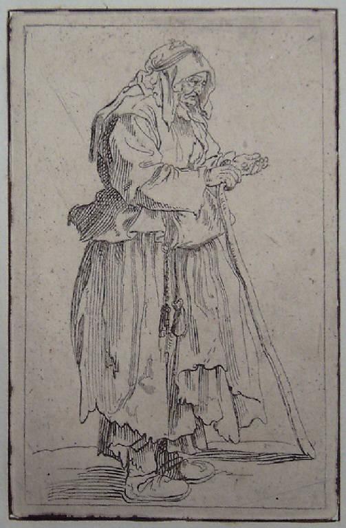 La mendicante che ha ricevuto la carità, Mendicanti (stampa, elemento d'insieme) di Callot Jacques (sec. XVII)