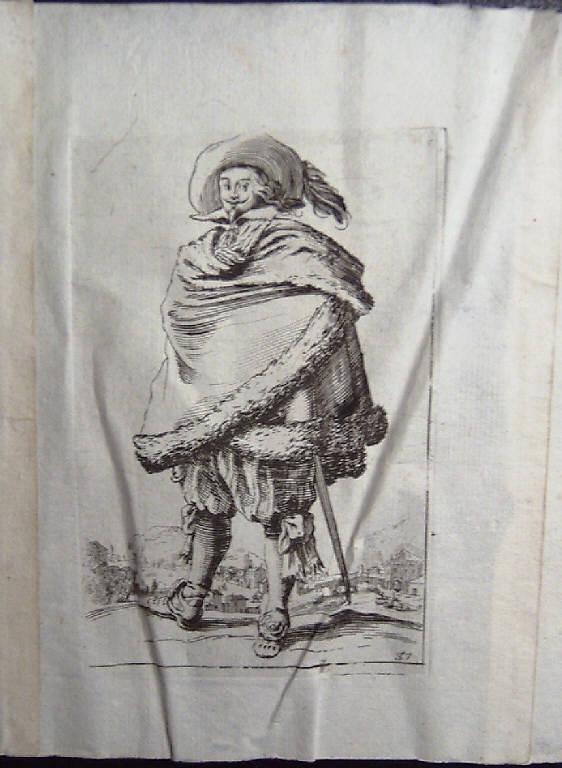 Il gentiluomo avvolto nel suo mantello bordato di pelliccia, Nobili (stampa, elemento d'insieme) di Callot Jacques (sec. XVII)