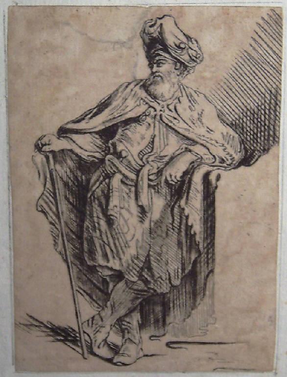Figura maschile in costume orientale (stampa smarginata) - scuola italiana (seconda metà sec. XVII)