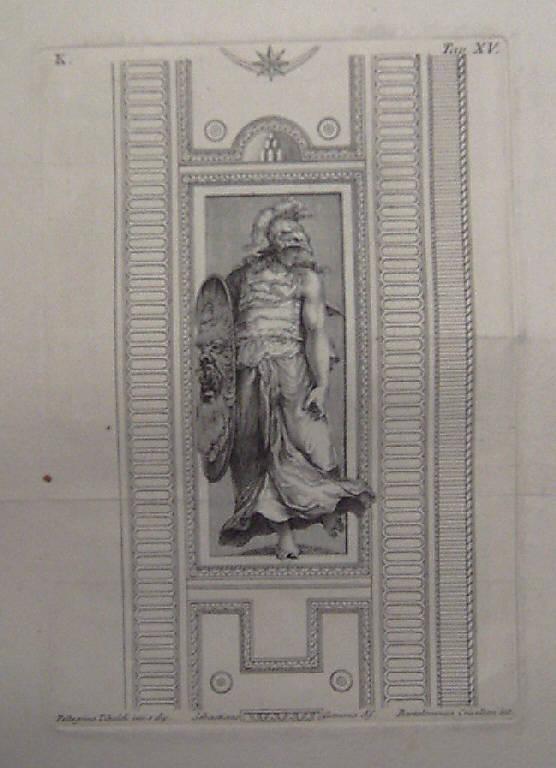 Figura femminile allegorica (stampa, elemento d'insieme) di Crivellari Bartolomeo, Gamma Sebastiano, Tibaldi Pellegrino detto Pellegrino Pellegrini (sec. XVIII)