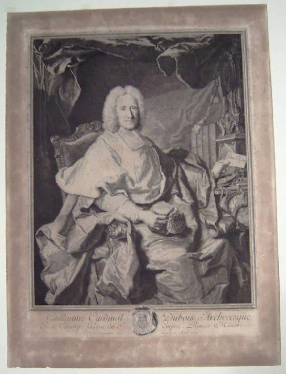 Ritratto di Guillaume Dubois cardinale (stampa) di Drevet Pierre-Imbert, Rigaud Hyacinthe (sec. XVIII)