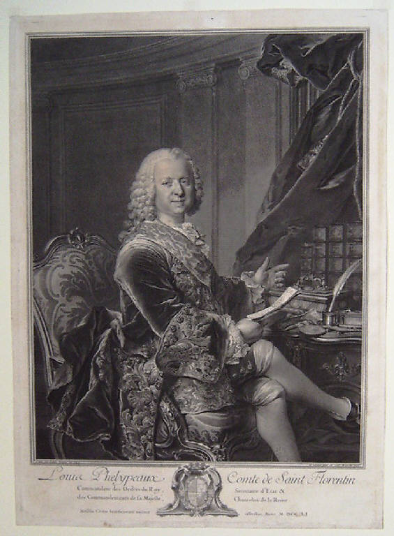 Ritratto di Louis Phelipeaux conte di Saint Florentin (stampa) di Wille Johann Georg, Tocqué Louis (sec. XVIII)
