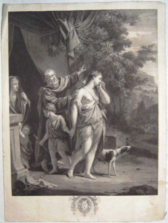 Agar e Ismaele cacciati nel deserto (stampa) di Porporati Carlo Antonio, Van Dyck Philip (secc. XVIII/ XIX)