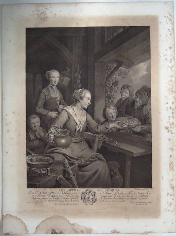 L'offerta reciproca, Contadini al desco (stampa) di Wille Johann Georg, Dietrich Christian Wilhelm Ernst (terzo quarto sec. XVIII)