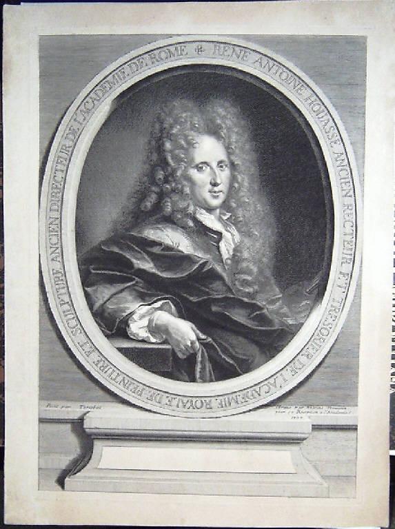 Ritratto di René Antoine Houasse pittore (stampa) di Trouvain Antoine, Tortebat François (inizio sec. XVIII)