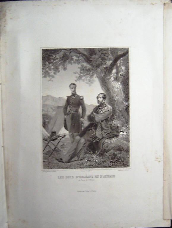 Ritratto dei duchi d'Orléans e di Aumale (stampa) di Audibran Francois Adolphe Bruneau, Philippoteaux (sec. XIX)