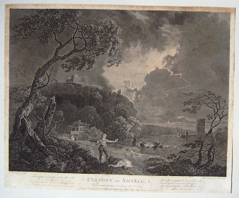 Celadon e Amelia (stampa smarginata) di Woollet William, Browne John, Wilson Richard (sec. XVIII, terzo quarto)