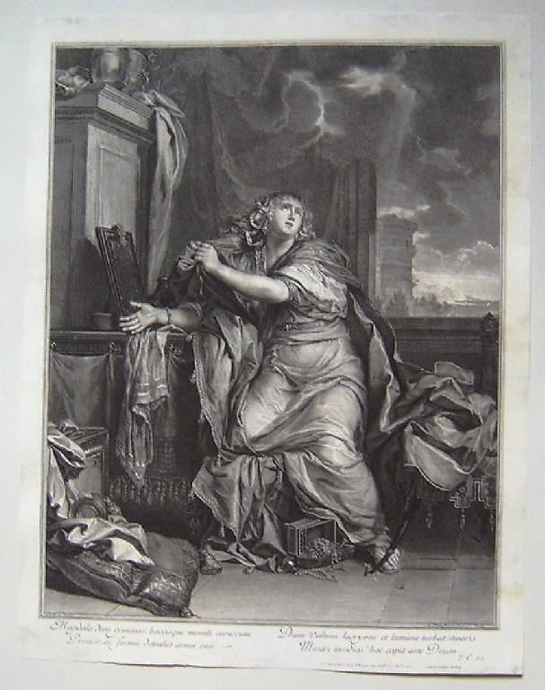 Santa Maddalena penitente rinuncia a tutte le vanità della vita, Santa Maria Maddalena rinuncia alle vanità della vita (stampa smarginata) di Edelinck Gérard, Le Brun Charles (secc. XVII/ XVIII)