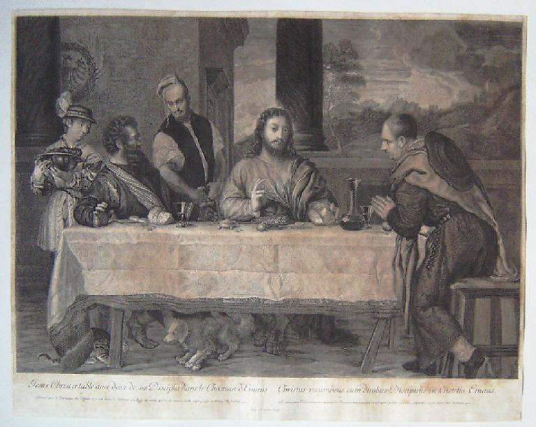 La Tovaglia, Cena in Emmaus (stampa) di Masson Antoine, Vecellio Tiziano (seconda metà sec. XVII)