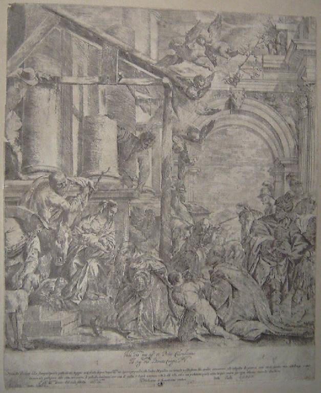 Adorazione dei Magi (stampa smarginata) di Sacchi Carlo, Caliari Paolo detto Veronese (metà sec. XVII)