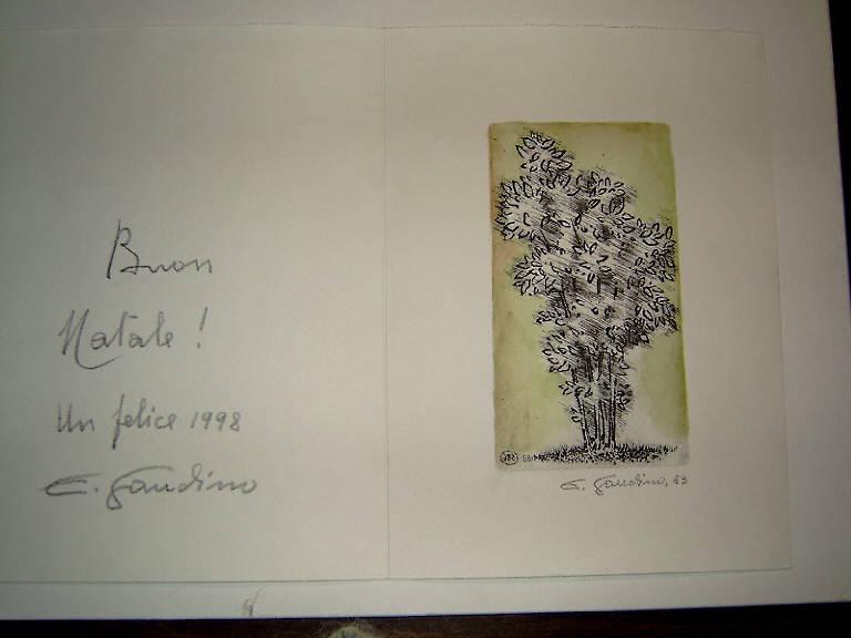 Albero (stampa colorata a mano) di Gaudino Enrico, Gaudino Enrico (ultimo quarto sec. XX)