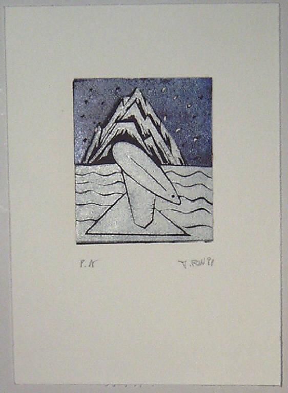Veduta con mare, montagna ed un oggetto galleggiante (stampa) - scuola italiana (sec. XX)
