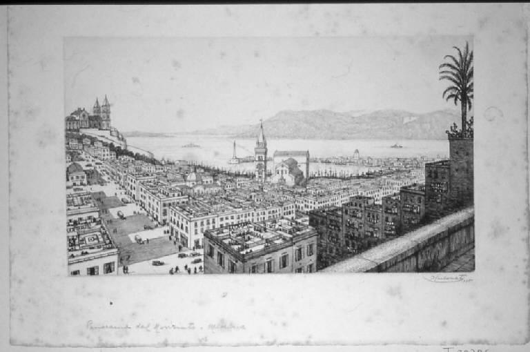 Veduta di Messina (stampa, serie) di Carbonati Antonio, Carbonati Antonio, Carbonati Antonio (sec. XX)