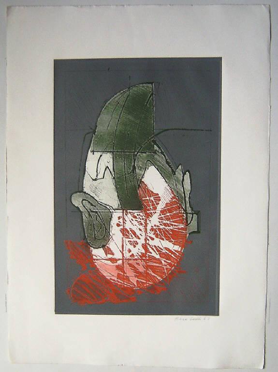 Testa d'uomo (stampa a colori, serie) di Leddi Piero, Leddi Piero (terzo quarto sec. XX)