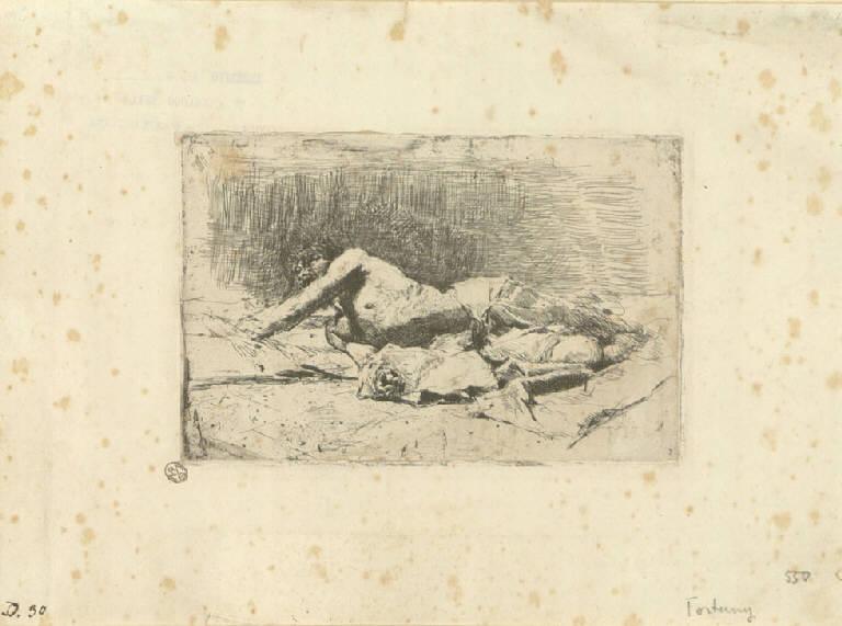 Uomo steso al suolo, Uomo seminudo steso a terra (stampa) di Fortuny y Marsal Mariano (sec. XIX)