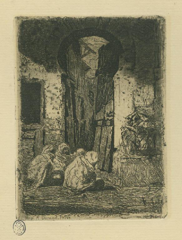 Tangeri, Arabi seduti lungo una strada di Tangeri (stampa) di Fortuny y Marsal Mariano (sec. XIX)