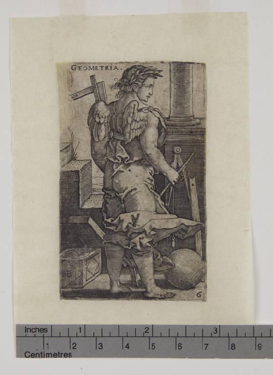Geometria (stampa tagliata) di Beham Hans Sebald (sec. XVI)