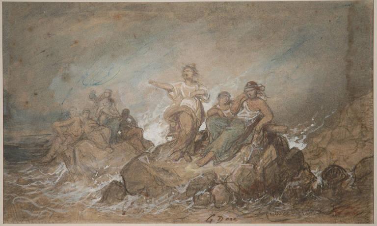 Pretresses conjurant la tempete, FIGURE FEMMINILI (disegno, opera isolata) di Doré Gustave (sec. XIX, terzo quarto)