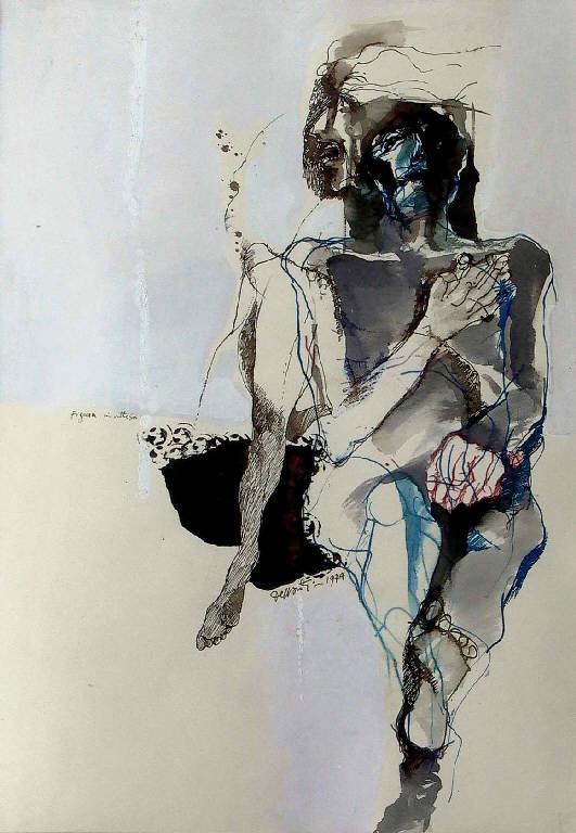 Figura in attesa, Figura seduta (dipinto, opera isolata) di Dessanti Cesco (sec. XX)