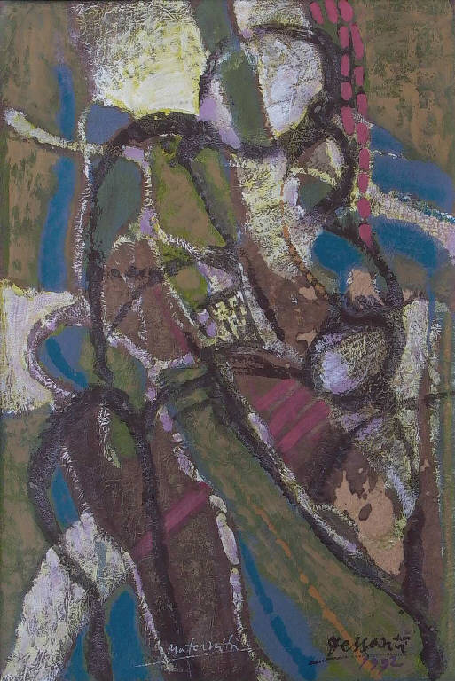 Maternità, Figure stilizzate (dipinto, opera isolata) di Dessanti Cesco (sec. XX)