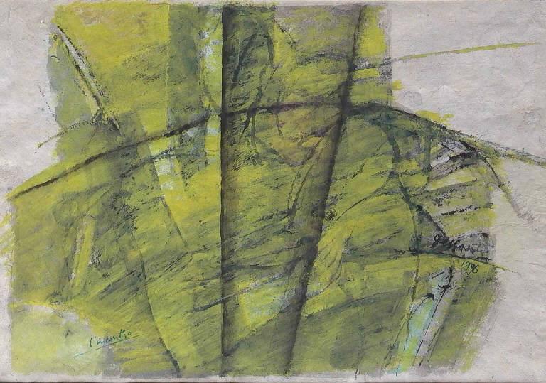 L'incontro, Figure stilizzate (dipinto, opera isolata) di Dessanti Cesco (sec. XX)