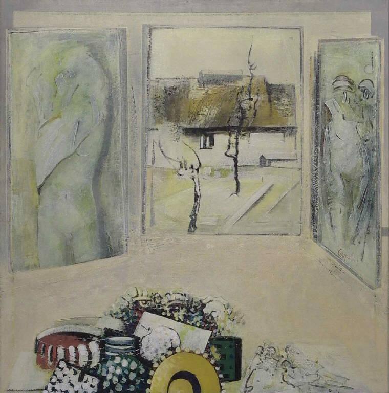Grande interno con finestra, Interno con finestra aperta su un cascinale (dipinto, opera isolata) di Cropelli Alberto (sec. XX)