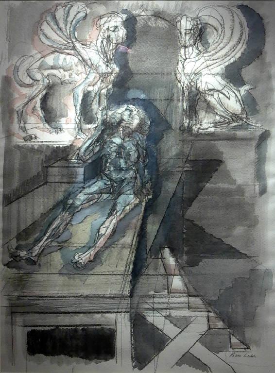 Roberspierre tra due sfingi (dipinto, opera isolata) di Leddi Piero (sec. XX)