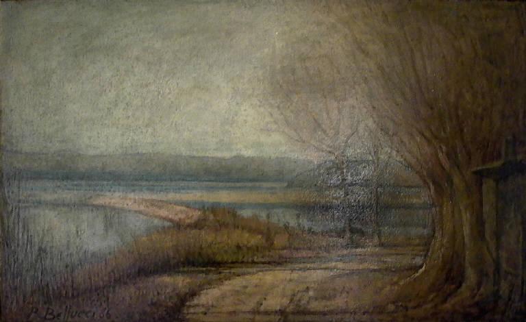 Inverno su Po (dipinto, opera isolata) di Bellucci Romeo (sec. XX)