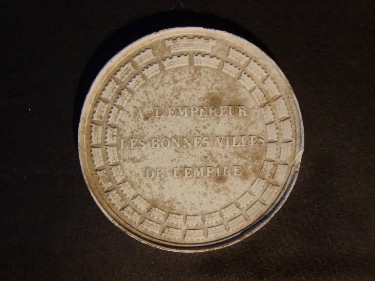 Simboli delle città dell'impero che onorano il battesimo del re di Roma, figlio di Napoleone Bonaparte (calco, opera isolata) - ambito italiano (prima metà sec. XIX)
