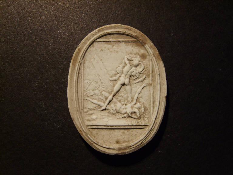 Scena mitologica con figura maschile e figura femminile con pelle di leone (calco, opera isolata) - ambito italiano (prima metà sec. XIX)