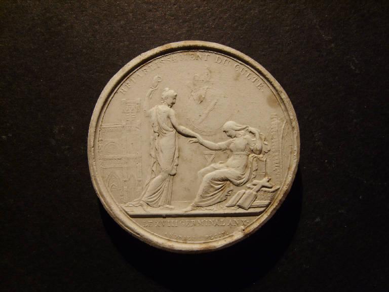 Medaglia commemorativa del ripristino del culto, Ripristino del culto (calco, opera isolata) - ambito italiano (prima metà sec. XIX)
