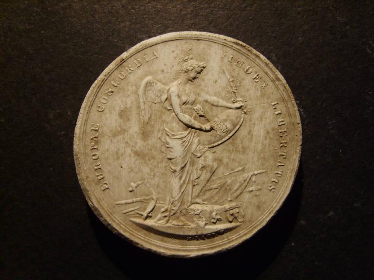 Medaglia commemorativa della battaglia di Lipsia, Vittoria alata vittoriosa a Lipsia (calco, opera isolata) - ambito italiano (prima metà sec. XIX)