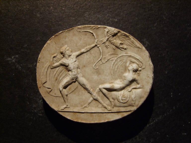 Scena mitologica con eroe che uccide un'aquila con testa di cane per proteggere una fanciulla (calco, opera isolata) - ambito italiano (prima metà sec. XIX)