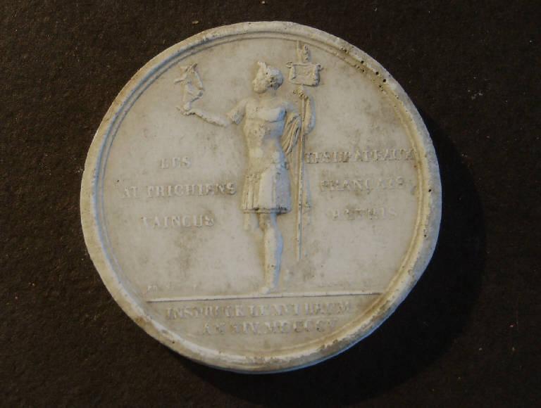 Medaglia commemorativa della vittoria di Frania contro gli africani, Allegoria della Vittoria (calco, opera isolata) - ambito italiano (prima metà sec. XIX)