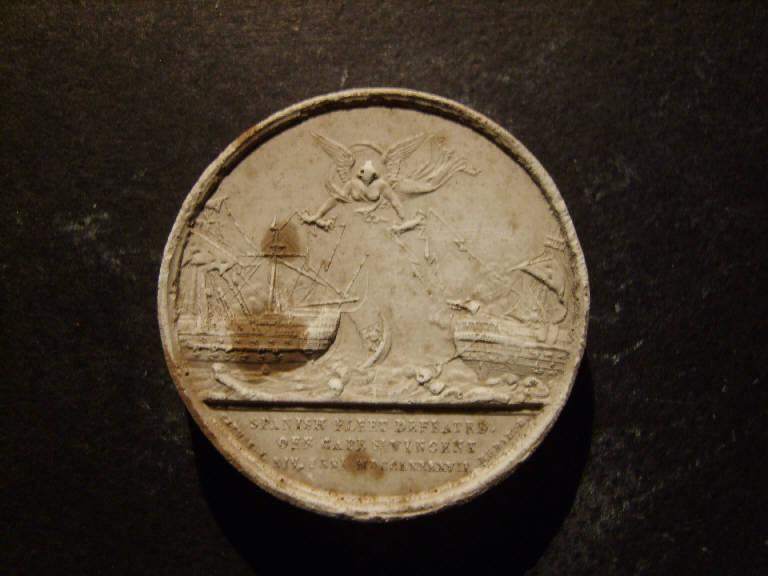 Medaglia commemorativa di Cape S.t Vincent del 1797, Allegoria della sconfitta della flotta spagnola con Vittoria alata che colpisce due navi da battaglia con fulmini (calco, opera isolata) - ambito italiano (prima metà sec. XIX)