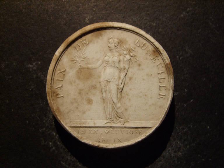 Medaglia commemorativa della pace di Luneville, Allegoria della Pace (calco, opera isolata) - ambito italiano (prima metà sec. XIX)