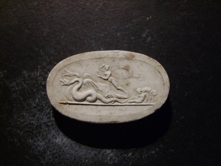 Scena mitologica con figura femminile che fugge su un carro guidato da serpenti (calco, opera isolata) - ambito italiano (prima metà sec. XIX)